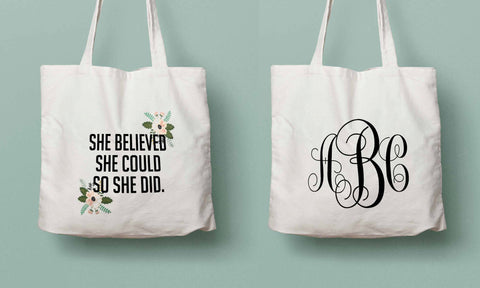 She believed she could, Class 2016 tote, graduation gift, monogram, college grad gift, high school graduation, personalized graduation gift