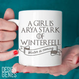A girl is Arya Stark of Winterfell, Game of Thrones mug, Valar morghulis, Arya Stark, ASOIAF, GOT fan gift, game of thrones gift, Arya mug