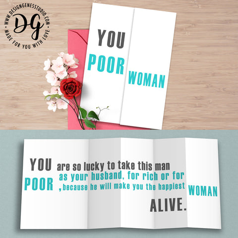 Funny wedding card for bride, sarcastic wedding card, foldout card, Funny wedding gift, Sarcastic humor, wedding humor, wedding card for her