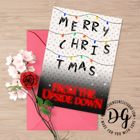 A Stranger Things Christmas.Printable Stranger Things Christmas Card The Upside Down