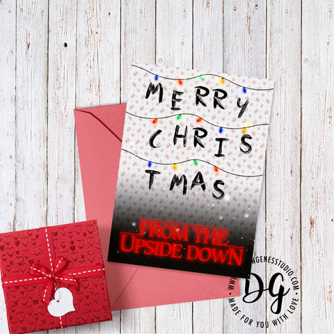 Stranger things Christmas card, Christmas lights, the Upside down, Stranger things card, Mike Lucas Dustin Eleven Will, stranger things card