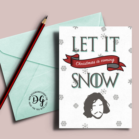 Game of Thrones Christmas card, Jon Snow card, let it snow, winter is coming, Christmas card, Game of Thrones xmas card, GoT xmas card