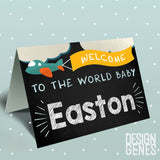 Personalized baby name card, Personalized Baby shower card, baby boy card, new baby congratulation card, newborn baby card, new baby gift