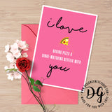 Netflix and pizza valentine's card, funny valentine's card, cute valentine's card for food lovers, funny card for him, card for husband