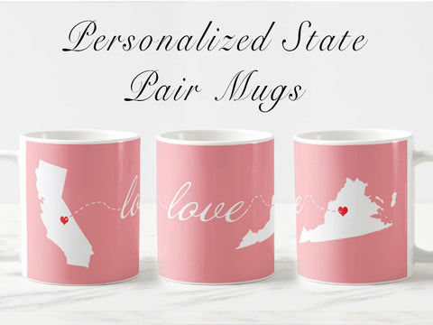 Personalized long distance gift, Valentine's day gift for her, personalized mugs for him, going away, long distance gift, anniversary gift