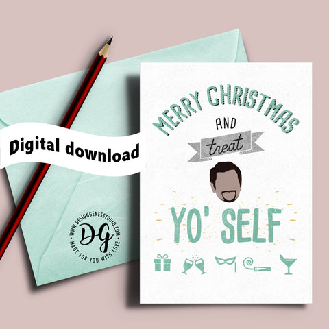 Printable Treat Yo Self Christmas card, Parks and Rec xmas card, Tom Haverford quote, Treat Yourself, parks recreation christmas card