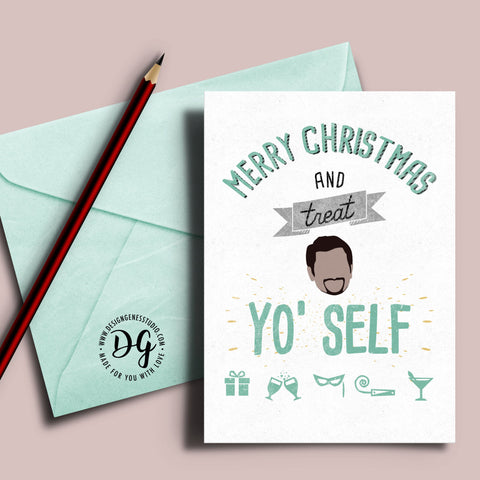 Treat Yo Self Christmas card, Treat yourself, Parks and Rec xmas card, Tom Haverford quote, Treat Yourself, parks recreation christmas card