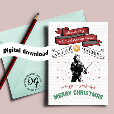 Printable Game of Thrones Christmas card, Arya Stark card, valar morghulis, winter is coming, Christmas card, Game of Thrones xmas card