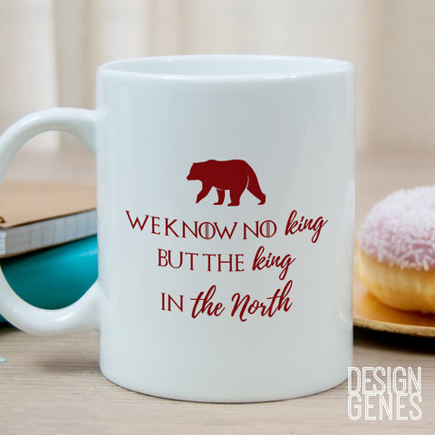 Game of Thrones mug, Lyanna Mormont quote, we know no king but the king in the North, winter is here, game of thrones mug, gift for her