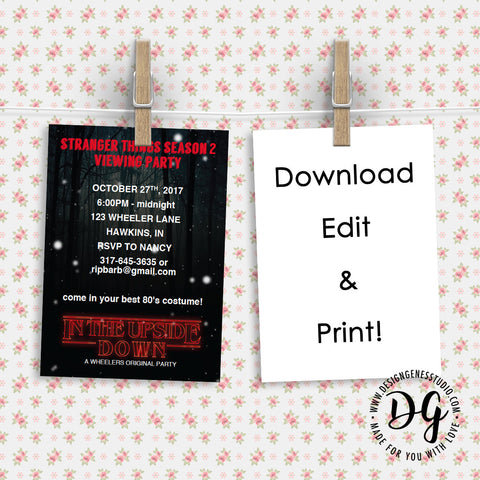 Printable Stranger Things Viewing Party Invitation Editable Template