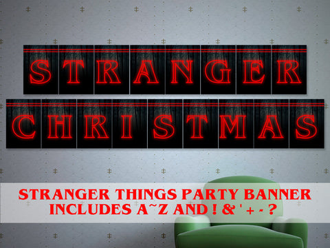 Printable Stranger things Christmas banner, Stranger things party decor, 80s party d̩cor, stranger things Christmas decor, xmas party banner