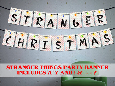 Printable Stranger things christmas banner, Stranger things Halloween banner, 80s xmas party d̩cor, stranger things Christmas lights banner
