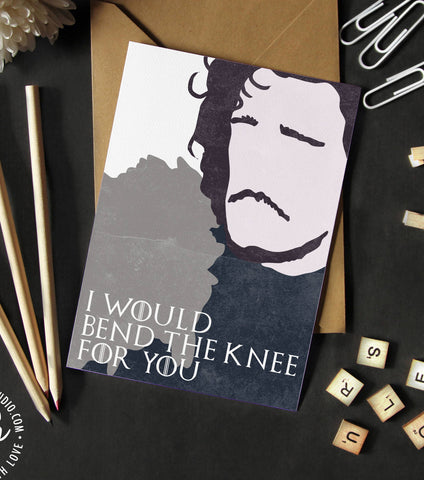 Game of Thrones love Card, Jon Snow bend the knee, I love you card, Game of Thrones anniversary, Anniversary card, GoT card, Jon and Daeny