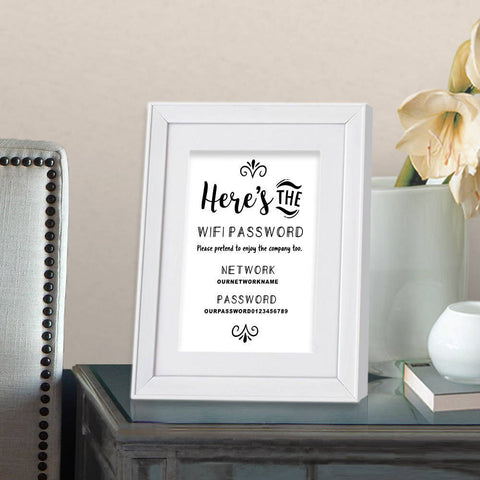 printed funny wifi password sign 8x10 print frame optional