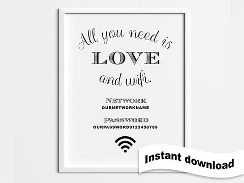 Funny wifi password sign, printable wifi 5x7, all you need is love, wifi password, guest wifi sign, wifi password sign, funny wifi password