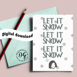 Printable Let it Snow Christmas card, Game of Thrones Christmas card, Game of Thrones card, Christmas card, Jon Snow Christmas, Card for her