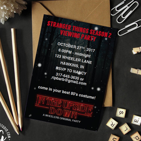 Printable Stranger things viewing party invitation, Stranger things Halloween party, 80s halloween party invite, stranger things invitation
