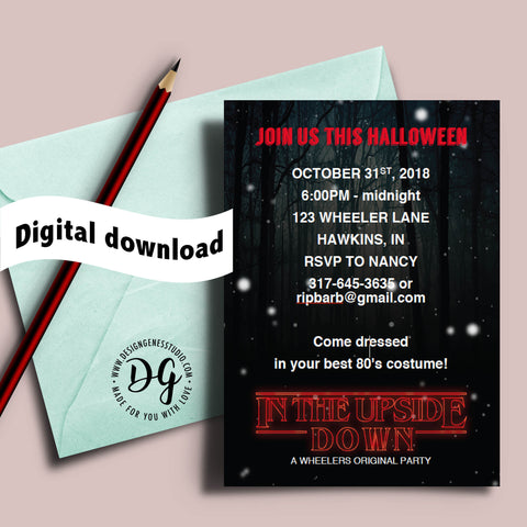 Printable Stranger things Halloween invitation, Stranger things viewing party, 80s halloween party invite, stranger things invitation