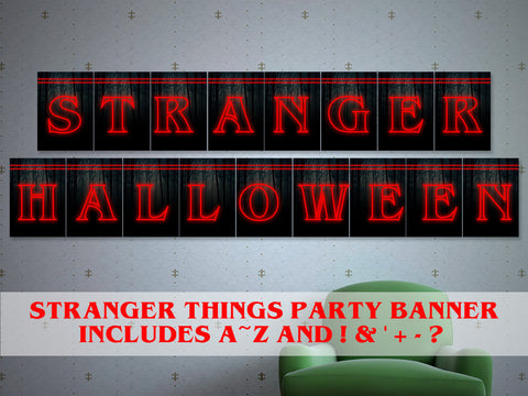 Printable Stranger things halloween banner, Stranger things Halloween party decor, 80s halloween d̩cor, stranger things Christmas banner