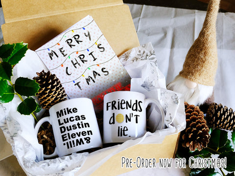 Stranger things Christmas gift box, Friend's don't lie mug, Stranger things goodie box, Gift box with card, pre-order now for Christmas