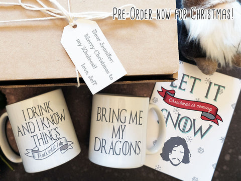 Game of Thrones Christmas gift box, I drink and I know things mug, Thrones goodie box, Gift box with card, pre-order now for Christmas