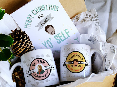 Parks and recreation fan gift, Christmas gift box, Be the leslie mug, Ron Swanson mug, Parks and Rec gift box, pre-order now for Christmas