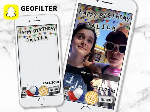 Stranger things happy birthday geofilter, personalized stranger things geofilter, 80s birthday geofilter, stranger things lights geofilter