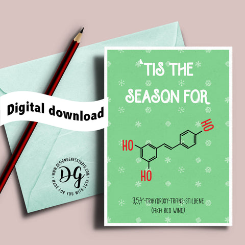 Printable Nerdy Christmas card, Scientist Christmas card, Chemistry Christmas, Geeky Christmas card, card for teacher, card for scientist