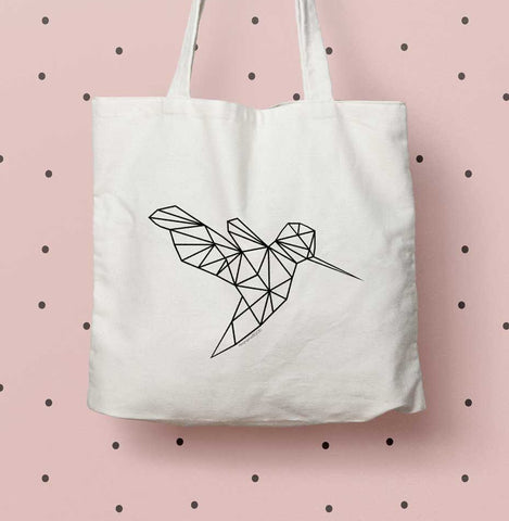 Hummingbird eco tote bag, geometric hummingbird print tote, bird lover gift, gold hummingbird print tote, print eco bag