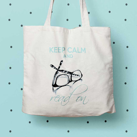 Keep Calm and Read On Eco tote bag, Book lover gift, librarian tote bag, canvas book bag, eco friendly tote bag