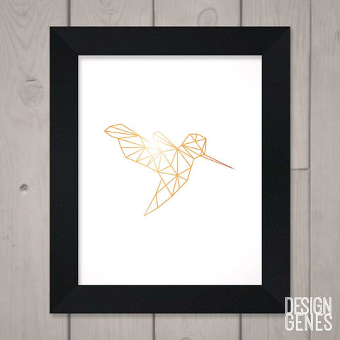 Modern Wall Art, Geometric Hummingbird, Printable wall art, Nursery Animal Decor, geometric shape art, 8x10 framed print shipped to you