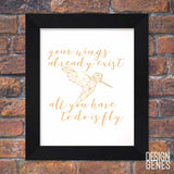"Inspirational Wall Art, Graduation gift, ""Your wings already exist"" Geometric Hummingbird, Nursery Animal Decor, 8x10 Framed print shipped"