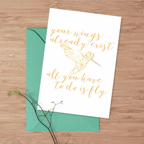 "Inspirational greeting card, Hummingbird ""Your wings already exist"" card, 5x7 handmade card, inspirational quote card, friendship card"