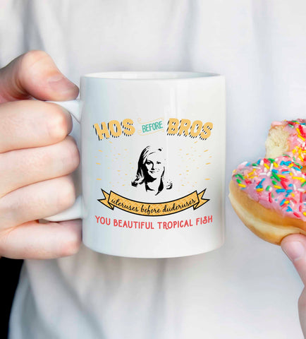 Leslie Knope mug, Hos before Bros mug, Parks and Rec quote mug, Uteruses before duderuses, bachelorette gift, parks and rec fan gift
