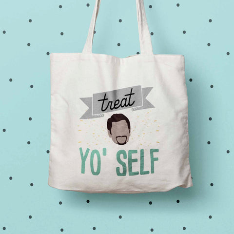 Treat Yo Self eco tote bag, Parks and Rec print tote, Parks and Rec fan gift, Tom Haverford quote, Aziz Ansari quote, Canvas Eco Tote Bag
