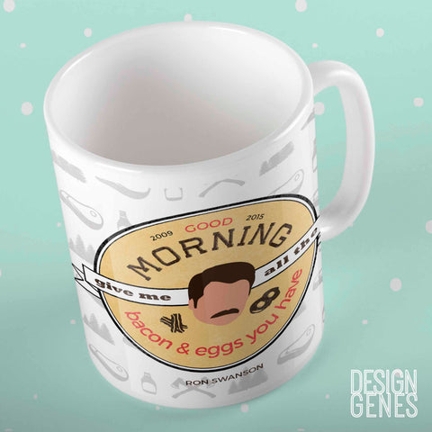 Ron Swanson Mug, Give me all the bacon and eggs mug, Parks and Rec quote mug, Ron Swanson quote, gift for him, parks and rec fan gift