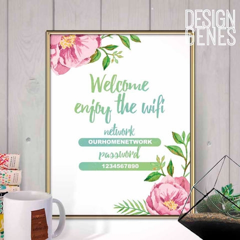 Wifi password sign, Welcome and enjoy the wifi, Printable home decor, floral wifi sign, Coffee shop decor, Instant download editable PDF
