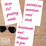 three 5x7 handmade greeting cards, valentines card, witty greeting card, congratulation card, three 5x7 cards printed and shipped to you