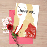 "Game of Thrones valentine's card, Cercei Lannister ""I love you like my own brother"", twincest cercei and jamie, hear me roar, card for him"