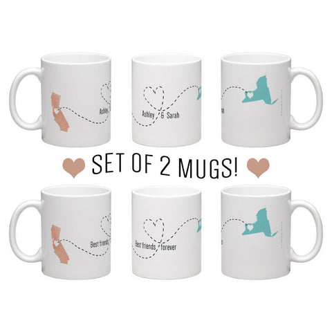 Best friend mugs, sisters mugs, going away gift, pair state mugs, friendship gift, best friends mugs, bff mugs, pair of 2 11oz coffee mugs