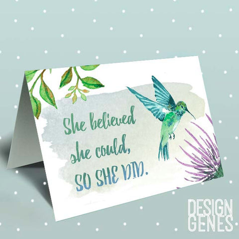 "Inspirational greeting card, ""she believed she could so she did"", Watercolor hummingbird quote card, 5x7 handmade card, friendship card"