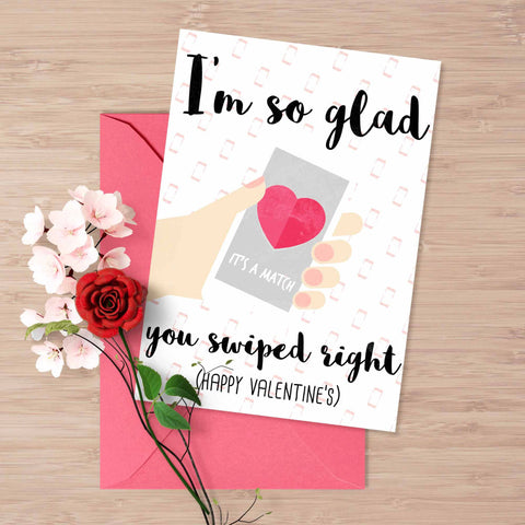 "Tinder Valentine's day card, ""I am so glad you swiped right"", Tinder funny valentine's card, card for him, card for her, online dating"