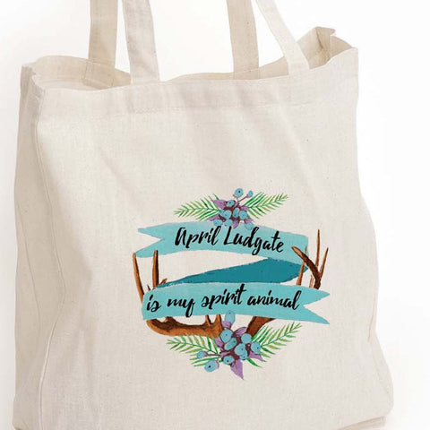 "April Ludgate eco tote bag, ""April Ludgate is my spirit animal"" tote, Parks and Rec fan girl gift, Book lover gift, Canvas Eco Tote Bag"