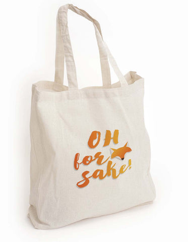 "Mom gift, cute eco tote bag, ""Oh for fox sake"" tote, girlfriend gift, Book lover gift, animal print tote, reusable tote, shopping Tote Bag"