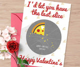 Food Lover Valentine's card, Valentine's card for him, Card about pizza, card for boyfriend, funny food valentine's card, 5x7 card shipped
