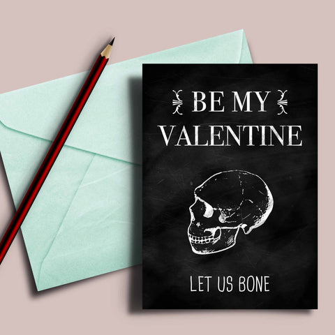 "Funny Valentine's card, black valentine, be my valentine, ""Let us bone"", valentine's card for husband, funny card for boyfriend, dark humor"