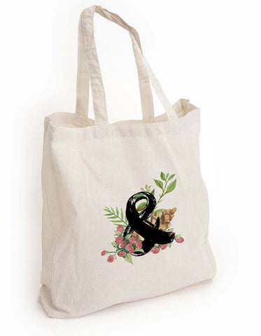 Floral tote bag, Ampersand tote, book reader gift, Librarian gift, Book lover gift, Librophile gift, reusable shopping bag, Canvas Eco Bag