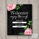 Wifi password sign chalk, Welcome and enjoy the wifi, Printable home decor, floral wifi sign, chalkart, home decor, Instant download editable PDF