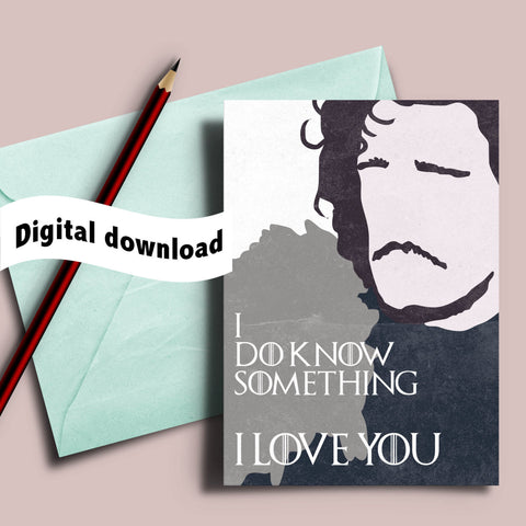"Game of Thrones valentine's card, Jon Snow ""I do know something, I love you"", winter is coming i love you card, you know nothing jon snow"