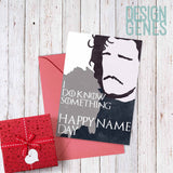 "Printable Game of Thrones card, birthday card, name day card, Jon Snow ""I do know something, Happy name day"", 5x7 printable pdf card"